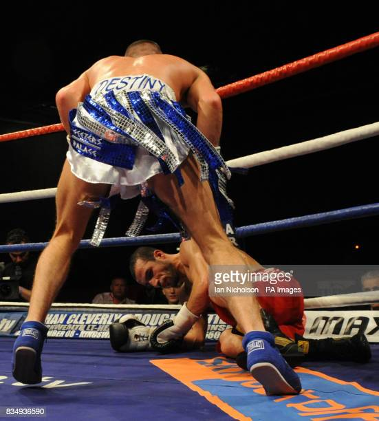 Cromer Super Featherweight Liam Walsh floors Dewsbury's Youseff Al Hamidi at the London ExCeL Arena