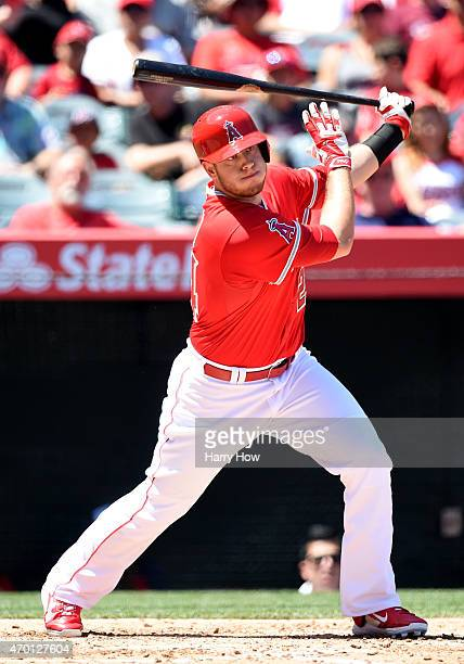 J Cron of the Los Angeles Angels at bat against the Kansas City Royals at Angel Stadium of Anaheim on April 12 2015 in Anaheim California