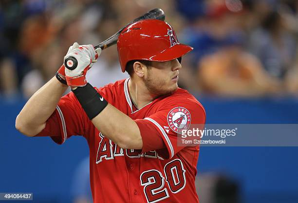J Cron of the Los Angeles Angels of Anaheim bats during MLB game action against the Toronto Blue Jays on May 10 2014 at Rogers Centre in Toronto...