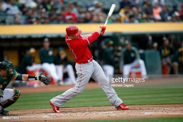 J Cron of the Los Angeles Angels of Anaheim bats during the game against the Oakland Athletics at the Oakland Alameda Coliseum on April 6 2017 in...