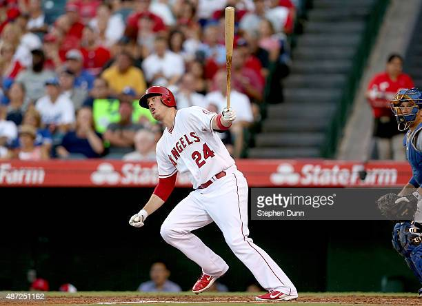 J Cron of the Los Angeles Angels of Anaheim hits a solo home run in the second inning against the Los Angeles Dodgers at Angel Stadium of Anaheim on...