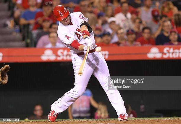 J Cron of the Los Angeles Angels of Anaheim hits a solo home run to give the Angels a 21 lead in the seventh inning against the Chicago White Sox at...