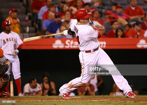 J Cron of the Los Angeles Angels of Anaheim hits a solo homerun in the eighth inning against the Houston Astros during the MLB game at Angel Stadium...