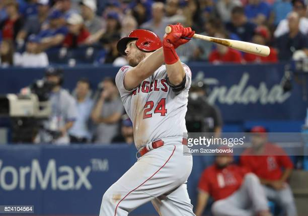 J Cron of the Los Angeles Angels of Anaheim hits a tworun home run in the ninth inning during MLB game action against the Toronto Blue Jays at Rogers...