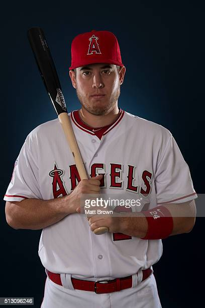 CJ Cron of the Los Angeles Angels of Anaheim poses for a portrait during photo day at spring training on February 26 2016 at Tempe Diablo Stadium in...