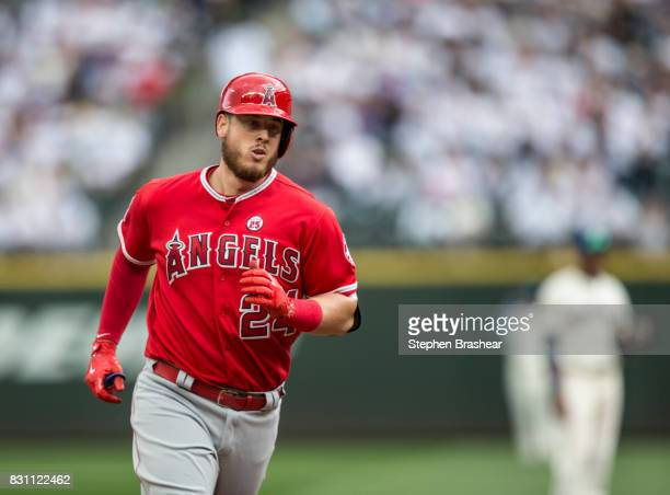 J Cron of the Los Angeles Angels of Anaheim rounds the bases after hitting a solo home run off of starting pitcher Ariel Miranda of the Seattle...