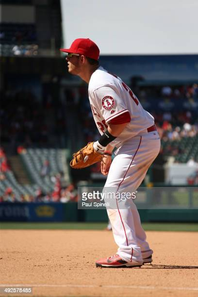 J Cron of the Los Angeles Angels plays defense at first base during the game against the Texas Rangers at Angel Stadium on Sunday May 4 2014 in...