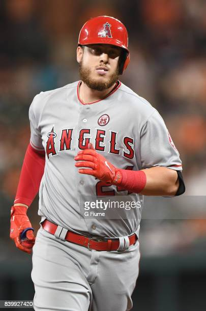 J Cron of the Los Angeles Angels rounds the bases against the Baltimore Orioles at Oriole Park at Camden Yards on August 18 2017 in Baltimore Maryland