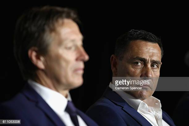Cronulla Sharks coach Shane Flanagan looks at Melbourne Storm coach Craig Bellamy during the NRL Grand Final press conference at Sydney Opera House...