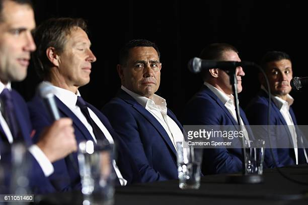 Cronulla Sharks coach Shane Flanagan looks on during the NRL Grand Final press conference at Sydney Opera House on September 29 2016 in Sydney...