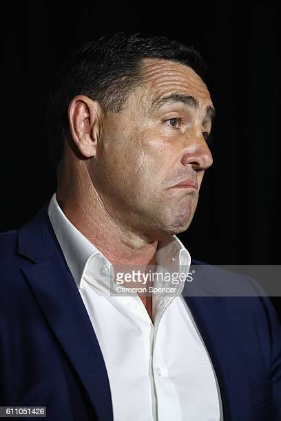 Cronulla Sharks coach Shane Flanagan speaks to the media during the NRL Grand Final press conference at Sydney Opera House on September 29 2016 in...