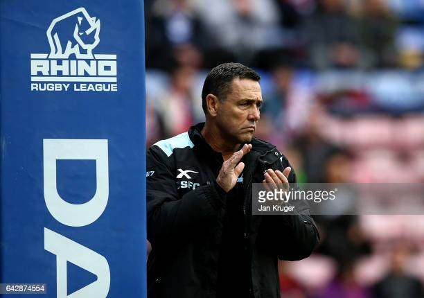 CronullaSutherland Sharks coach Shane Flanagan looks on during the Dacia World Club Challenge match between Wigan Warriors and CronullaSutherland...