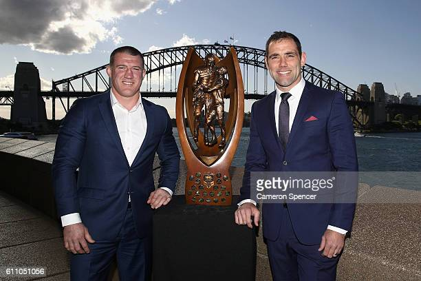 CronulllaSurtherland Sharks captain Paul Gallen and Melbourne Storm captain Cameron Smith pose with the ProvanSummons Trophy during the NRL Grand...