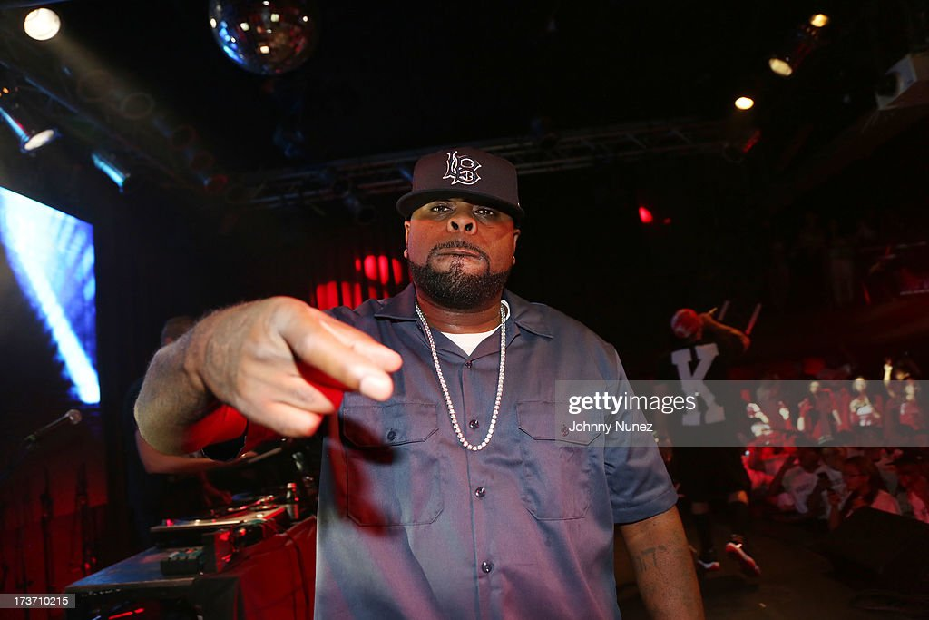 <a gi-track='captionPersonalityLinkClicked' href=/galleries/search?phrase=Crooked+I&family=editorial&specificpeople=5799926 ng-click='$event.stopPropagation()'>Crooked I</a> of Slaughterhouse performs at Highline Ballroom on July 16, 2013 in New York City.