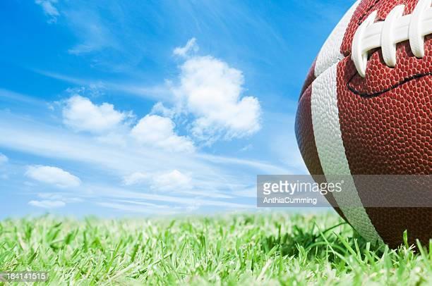 Cropped american football auf grünem Gras mit blauem Himmel
