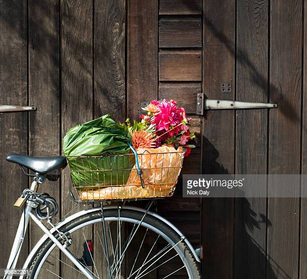 Cropped bike basket containing shopping
