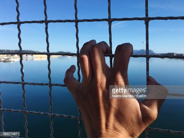 Cropped Hand Of Man Holding Fence