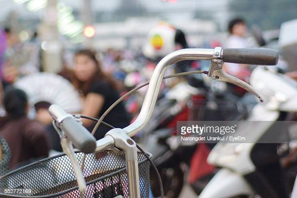 Cropped Image Of Bicycle Handles Outdoors