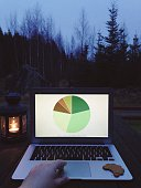 Cropped Image Of Hand Working On Laptop In Backyard At Dusk