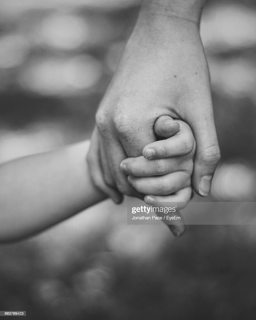 Cropped Image Of Mother Holding Child Hand