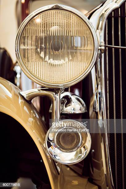 Cropped Image Of Old-Fashioned Vintage Car Headlight