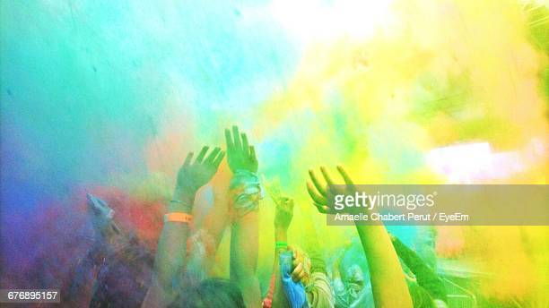 Cropped Image Of People Enjoying Holi