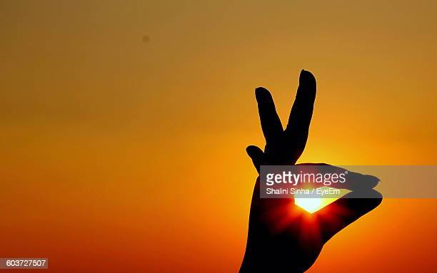 Cropped Image Of Silhouette Hand Doing Gyan Mudra Against Sky During Sunset