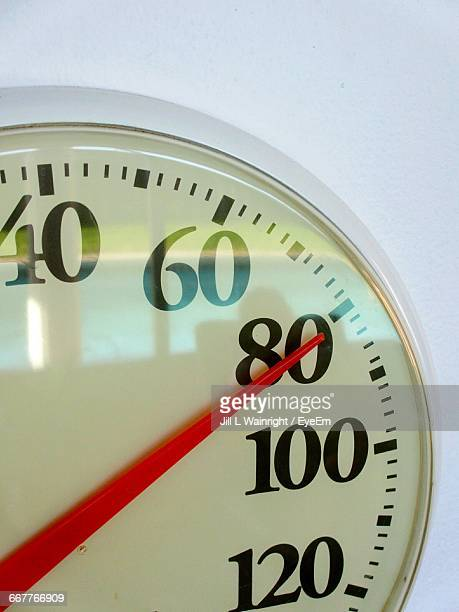 Cropped Image Of Temperature Gauge Against White Background