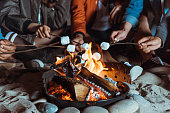 cropped shot of casual friends roasting marshmallows on bonfire