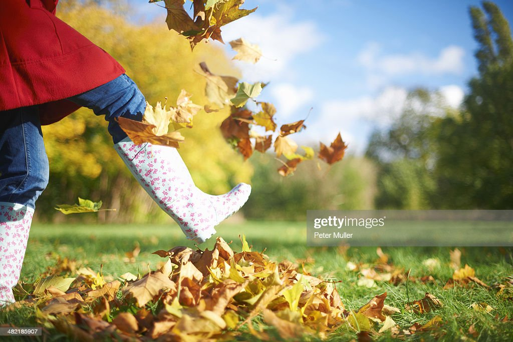 Cropped shot of mature woman kicking autumn leaves in park