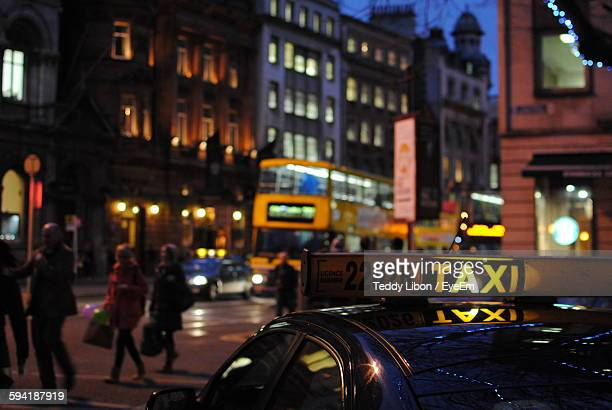 Cropped Taxi In City