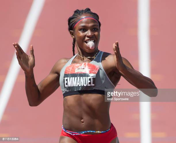 [cropped version of BAY17070902_Canadian_Champsjpg] Crystal Emmanuel celebrates her victory in the 200m to go with her 100m gold medal at the...