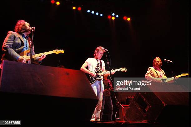 Crosby Stills And Nash perform on stage London July 1983 LR David Crosby Graham Nash Stephen Stills