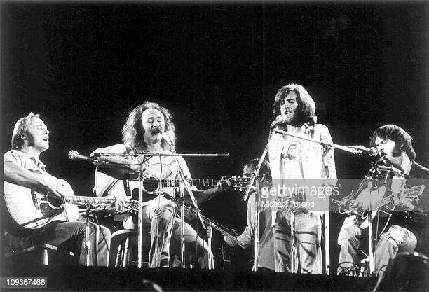 Crosby Stills Nash and Young perform on stage at Wembley Stadium London 14th September 1974 LR Stephen Stills David Crosby Graham Nash Neil Young