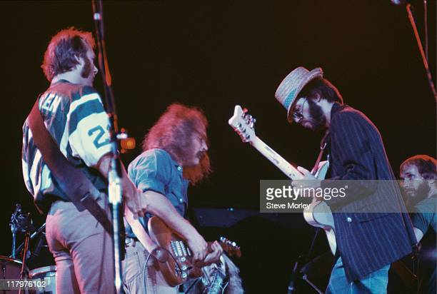 Stephen Stills David Crosby Neil Young and Graham Nash US folk rock band their on stage during a live concert performance at the Nassau Coliseum...