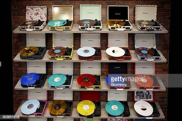 Crosley Radio turntables are displayed during the 2016 Consumer Electronics Show in Las Vegas Nevada US on Wednesday Jan 6 2016 CES is expected to...