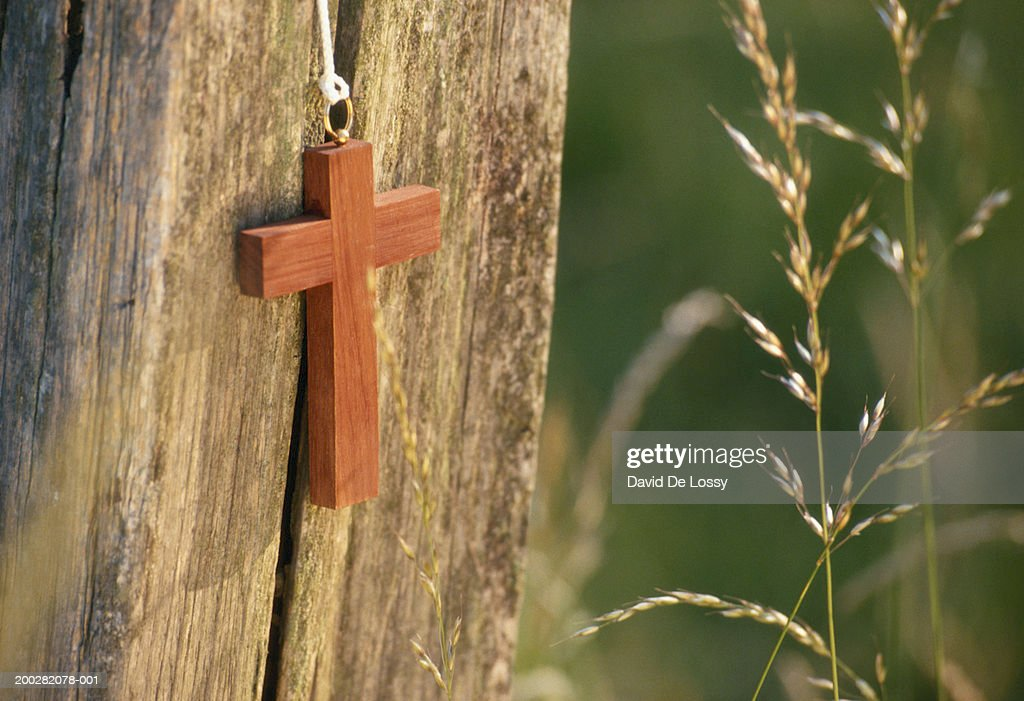 Cross against wood : Stock Photo