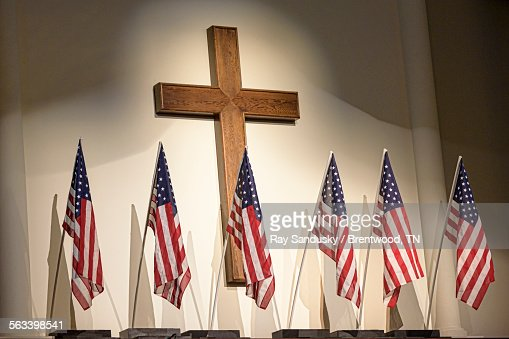 Cross and flags : Stock Photo
