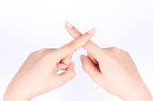 finger hand symbols isolated concept Cross and wrong or banned just say no on white background