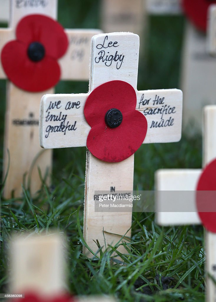 A cross bearing the name of Lee Rigby is placed in the Royal British Legion Field of Remembrance in the grounds of Westminster Abbey on November 4...