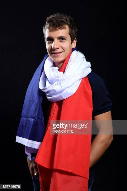 Cross country skier Clément Parisse poses on October 4 2017 in Paris during the presentation of the French delegation to the Winter Olympic Games in...