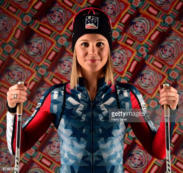 Cross country skier Sadie Bjornsen poses for a portrait during the Team USA PyeongChang 2018 Winter Olympics portraits on April 29 2017 in West...