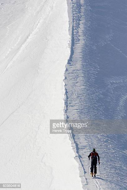 Cross Country Skier Skiing Along Snowy Ridge