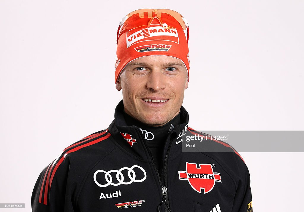 Cross country skier <a gi-track='captionPersonalityLinkClicked' href=/galleries/search?phrase=Tobias+Angerer&family=editorial&specificpeople=724015 ng-click='$event.stopPropagation()'>Tobias Angerer</a> of Germany poses during a photo call on October 27, 2010 in Ingolstadt, Germany.