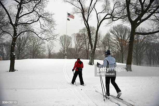Cross country skiers exercise through Central Park on January 23 2016 in New York City A major Nor'easter is hitting much of the East Coast and parts...