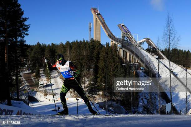 Cross Country skiers take part in training ahead of the FIS Nordic World Ski Championships on February 21 2017 in Lahti Finland