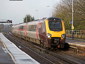 Cross Country Voyager passenger train approaching Basingstoke Station Hampshire UK
