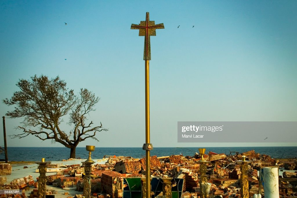 A cross formerly inside the destroyed St. Claire's church was repositioned to stand amidst the rubble on September 3, 2005 in Waveland, Mississippi. Hurricane Katrina's category 5 strength left the coast of Florida, Alabama, Mississippi and Louisiana in ruins. Mississippi confirmed death toll was over 120 by Thursday as more rescue teams combed the devasted areas.