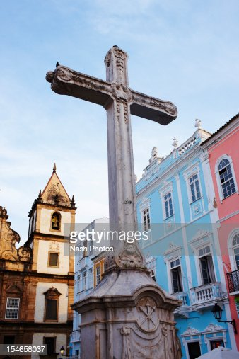A cross in an old colonial district of Salvador : Stock Photo