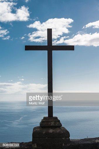 Cross in front of sky, Santa Cruz de La Palma, La Palma, Canary Islands, Spain
